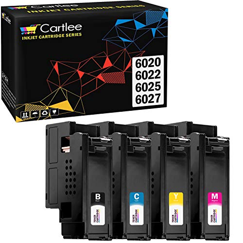 Cartlee Set of 4 Compatible High Yield Laser Toner Cartridges Replacement for Xerox Phaser 6020 Phaser 6022 WorkCentre 6025 Work Centre 6027 Printers (1 Black, 1 Cyan, 1 Magenta, 1 Yellow)