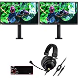 LG 27GN880-B 27-inch Ultragear QHD Nano IPS 1ms 144Hz HDR G-SYNC Gaming Monitor (2-Pack) Bundle with Audio-Technica Premium Gaming Headset and Deco Gear Large Extended Pro Gaming Mouse Pad
