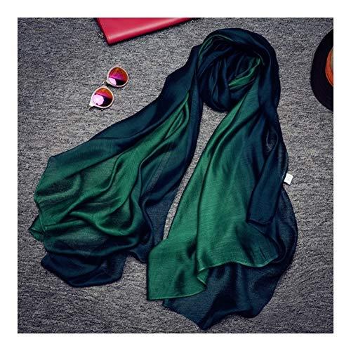 QXX Gradiente de la Bufanda del mantón Mujer Moda Protector Solar Grande de la Bufanda del mantón de Doble Uso de la sección Delgada (Color : Green)