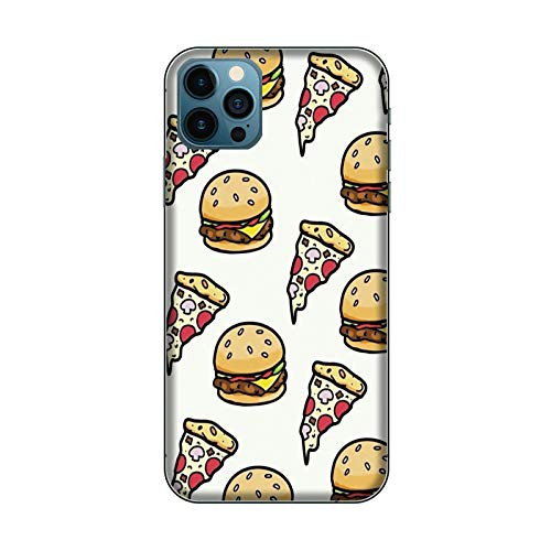 Desconocido Funda iPhone 12 Carcasa Apple iPhone 12 Comida Cibo Hamburguesa Y Pizza/Cubierta en TPU y Vidrio/Cover Antideslizante Antideslizante Antiarañazos Resistente a Golpes Protectora Rígida
