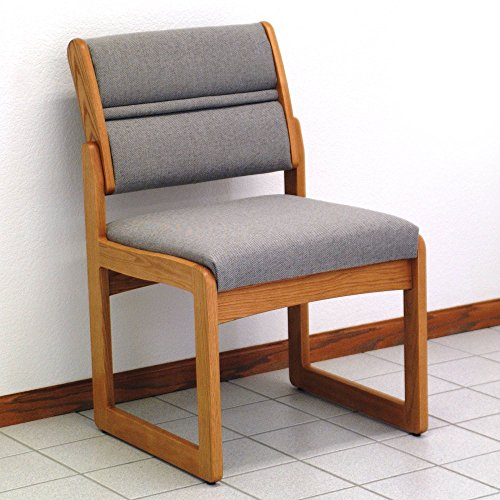 Sled Base Armless Wood Office Chair in Solid Medium Oak w Upholstered Back & Seat (Wine Leaf)