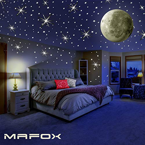 MAFOX Glow in The Dark Wall or Ceiling Stars with Moon Stickers  Luminous Decal Stickers for Simulated Moon Effect at Night  Ideal Kids Decor or Adults  Perfect Gift Kids Boys Girls