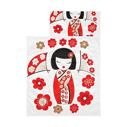 Nickerchenmatte für Kleinkinder Mädchen Nette Illustration einer japanischen Puppe Kokeshi In Re Travel Schlafsack für Kinder Weiche Mikrofaser Leichte Kleinkind Vorschule Nickerchen Matte Perfekt f
