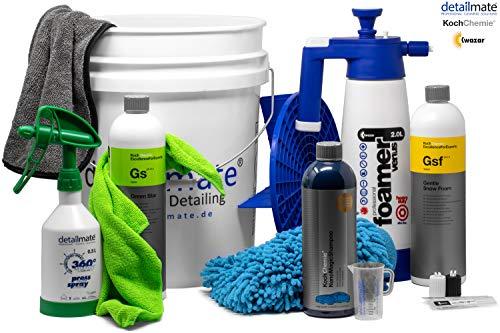 Detailmate Set: GritGuard: Eimer 5 Gal + Einsatz + Kwazar Foamer Alkaline 2L + Koch Chemie: GSF 1L + GS 1L + Sprühflasche 0,5L+ Nano Magic Shampoo 750ml + Waschhandschuh + Mikrofasertuch + Trockentuch