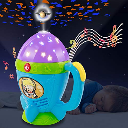 HISTOYE Night Light Stars Projector Flashlights Toys for Kids Flashlights for Toddlers 2-4 Years Space Projector for Kids with Music Toddler Flashlight Birthday Gifts for 1 2 3 4 5 Year Old Girl Boy
