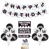 Decoraciones para fiesta de cumpleaños Set , Music Note Rock Theme Party Fiesta de cumpleaños Banner , Cake Topper For Party Backdrop Home Decor Party Decorations   Globos del adorno de la torta de la