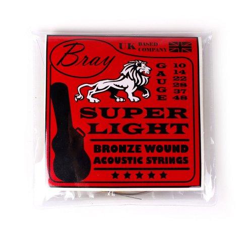 Bray umsponnene Bronzesaiten für Akkustik Gitarren, Stärke Super Light (10 - 48) Perfekt für Gibson, Ibanez, Tanglewood, Yamaha & Fender Acoustic Guitars - Vinyl Sticker im Lieferumfang