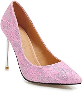 Flower Print High Heels For Banquet Wedding Dress Daily (Color : Pink, Size : 36)
