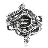 Beydodo Herren Ring Silber 925 Schlange Gothic Ring Silber Freundschaftsring Große 62 (19.7)