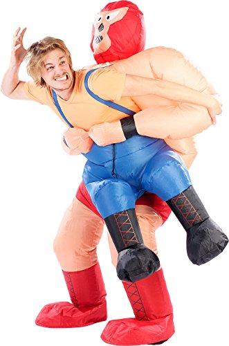 Playtastic aufgeblasene Kostüme: Selbstaufblasendes Kostüm Wrestler im Klammergriff (Kostüm-Verkleidungen)