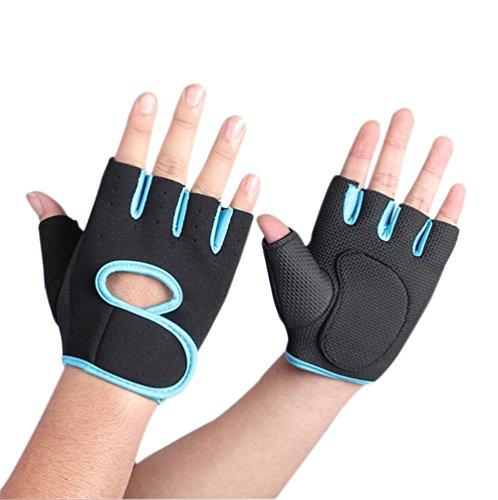 lumanuby 1Paar Damen Herren 's Gym Handschuhe, Half Finger Handschuhe semi-breathable Verschleißfest Rutschfest Fitness Handschuhe für Outdoor Ausreit Klettern atmungsaktives Sport Handschuhe Workout Training, Blue M, 18-21CM