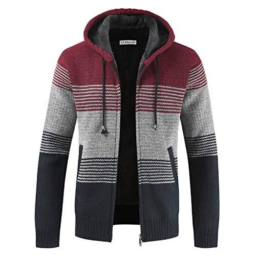 Shuanghao Cárdigan de Hombre uello Alto Casuales Chaqueta Chaqueta de Punto para Hombre Sudaderas con Capucha Suéter de Punto (L, Rojo)
