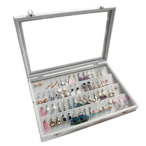 Lavcus Samt Glas Schmuck Ring Display Organizer Box Tablett Halter Schmuck Ohrringe Aufbewahrung Fall (Ohrring-Box)