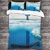 Starodec 3D Digitaldruck Bettwäsche Set,Schwimmer unter Wasser im Schwimmbad,Bettbezug mit 2 Kissenbezügen,Single(135 * 210cm)
