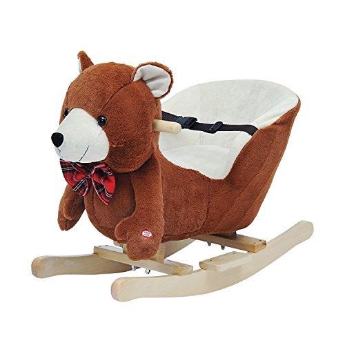 HOMCOM Schaukelpferd Kinder Schaukeltier Plüsch Schaukel Pferd Baby Schaukelspielzeug Geschenk für Kinder (Schaukelbär mit Lied)