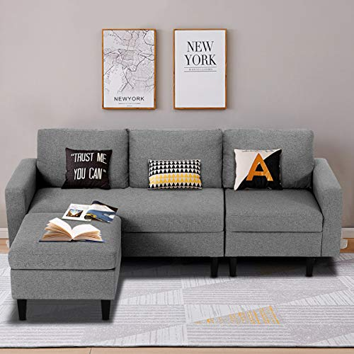 Esright Convertible Couch Small Sectional Sofa Couch Modern Linen Fabric L-Shape Couch for Small Space Apartment, 3 Piece Living Room Furniture Sets with Chaise Lounge, Light Grey