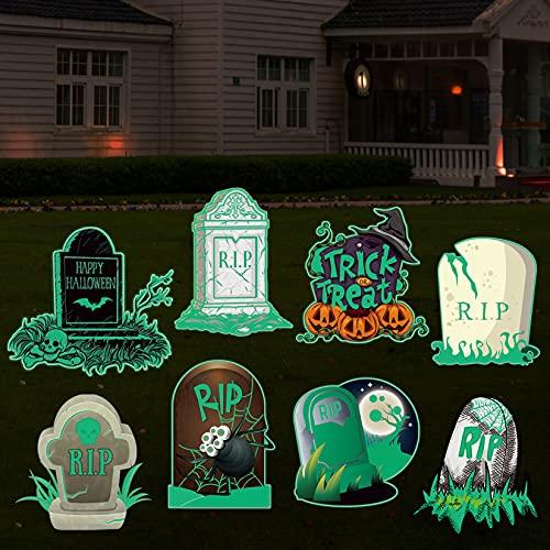 Firegodzr Halloween Large Fluorescence Graveyard Tombstones Yard Signs with Stakes,Halloween Pumpkin Trick or Treat…