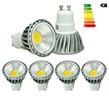 ECD Germany 4-er Pack 6W GU10 LED Spot - ersetzt 30W Halogen - 220-240V - 60° Abstrahlwinkel - 386 Lumen - 6000K Kaltweiß - Birne Lampe Strahler Leuchtmittel
