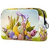 Grande borsa per il trucco Custodia con cerniera per cosmetici da viaggio Organizer per donne e ragazze - Cesto di uova di Pasqua Erba
