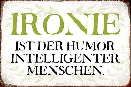 Ironie ist Humor intelligenter Menschen Blechschild Metallschild Schild gewölbt Metal Tin Sign 20 x 30 cm