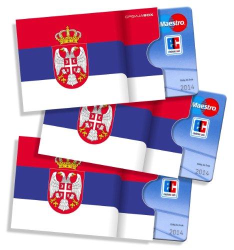 Serbische Ausweishüllen/Kartenhüllen cardbox /// Motiv: Serbien Flagge/Serbische Fahne /// 3er Set /// Kartenhalter/Kartenhülle für alle Ausweise und Karten im Scheckkartenformat