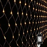 Lyhope 12ft x 5ft 360 LED Decorative Net Lights, 8 Modes Low Voltage Mesh Fairy Christmas Lights for...