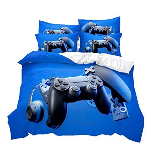 Ropa de Cama Mango de Consola de Juegos Funda Nórdica Funda de Almohada 3D Gamepad Controlador de Videojuegos Poliéster Juego de Cama para Niños Chico Adolescente (Azul, 220x240cm Cama 135 cm)