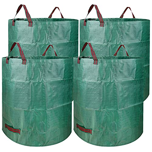 Garden Waste Bags,4 Pack 72 Gallons Large Reusable Yard Leaf Bags,Yard Patio Landscaping Bags, Lawn Pool Waste Bin and Trash Container