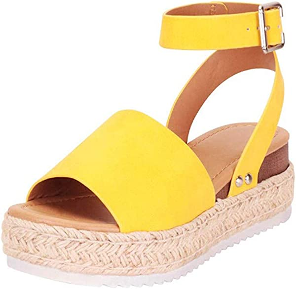 SSYUNO Women S Platform Sandals Espadrille Wedge Ankle Strap Studded Open Toe Sandals Peep Toe Beach Travel Flat Shoes