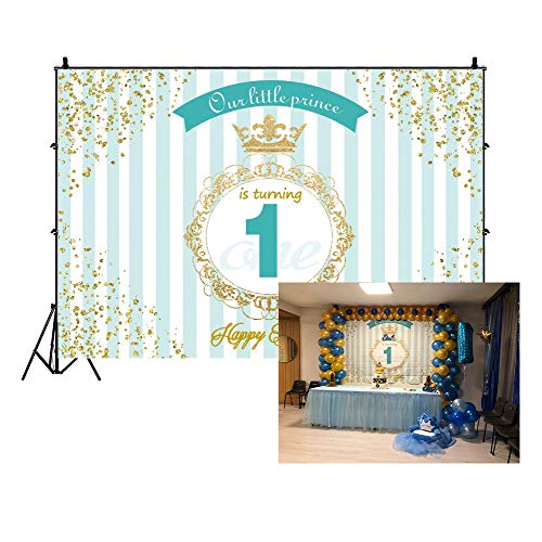 Leowefowa 3x2m Vinile 1 ° compleanno Foto da Sfondo Buon compleanno Carta da parati Prince Crown Blue Stripes Fondali Fotografia Partito Bambini Photo Studio Puntelli Photo Booth