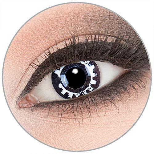 Farbige schwarze 'Steam Punk' Kontaktlinsen von 'Evil Lens' zu Fasching Karneval Halloween 1 Paar schwarze weiße Crazy Fun Kontaktlinsen mit Behälter ohne Stärke