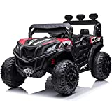 sopbost 12V 10AH Power Buggy 4x4 Kids Ride On Truck UTV 2WD/4WD Switchable Ride On Car with Remote Control Ride On Toys Electric Off-Road UTV Vehicle with Car Keys, 4 Shock Absorbers, Music Play, Red