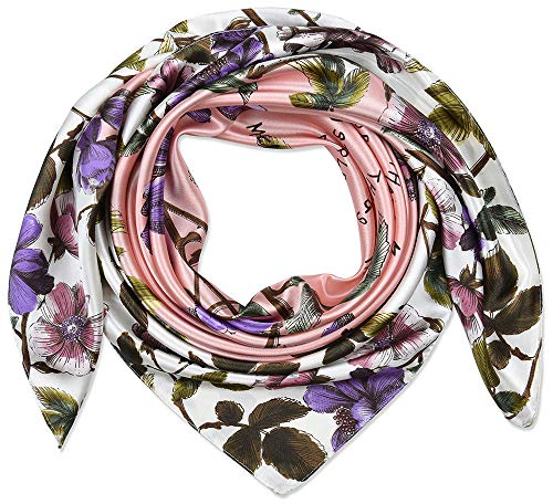 Corciova 35' Women's Polyester Silk Feeling Square Hair Scarf Headscarf Dark Lavender and Pale Pink Flowers Pattern