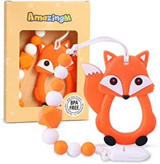 AmazingM Baby Teething Toys,Food Grade Silicone Teether Toy with Pacifier Clip Holder,BPA Free,Freezer Safe,Teething Egg f...