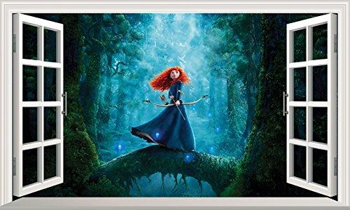 Chicbanners Wandaufkleber Brave Princess Merida 3D Magic Window V5, selbstklebend, Größe 1000 mm breit x 600 mm tief (groß)