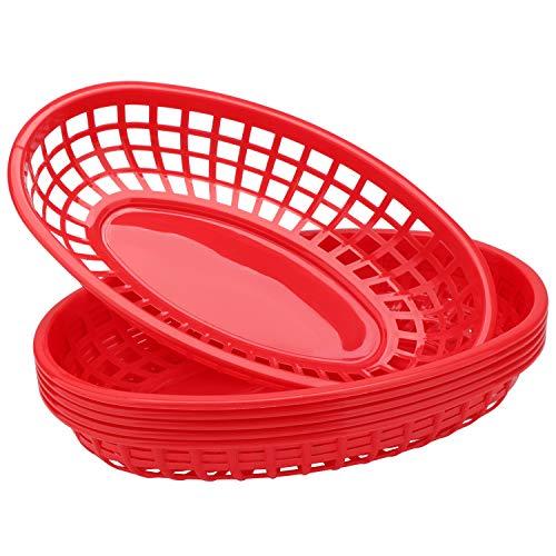 Deli Baskets for Food Serving, Eusoar 6Pcs 9.4' x 5.9' Fast Food Baskets, Fry Tray, Bread Baskets, Serving Tray for Fast Food Restaurant Supplies, Deli Serving, Chicken, Burgers, Sandwiches & Fries