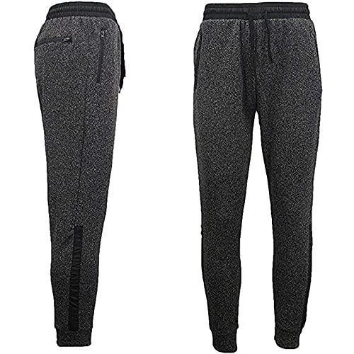 Pantalones de chándal largos con bolsillos con cremallera para hombre, básicos, de un solo color, cómodos, para el tiempo libre, color negro, gris, S, M, L, XL, XXL, 3XL, Negro , S