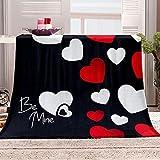 ZSDWGL Mantas para Sofás de Franela Mantas Ligeras Mantas de Microfibre Extra Suave 180 x 220 cm Corazón Rojo Blanco