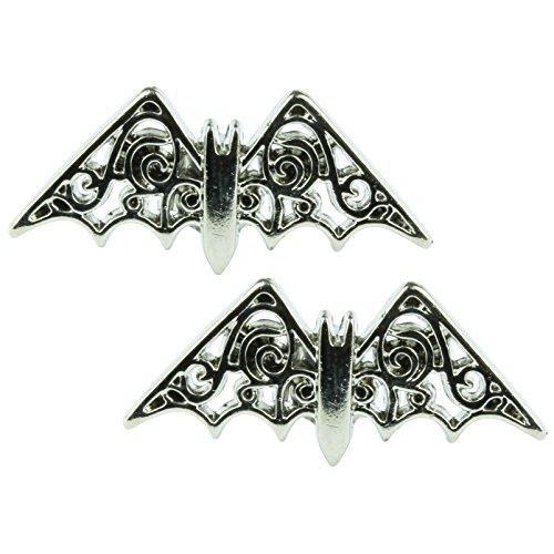 The Funky Barcode Pendientes de plata con diseño de murciélago volando en caja de regalo disponible