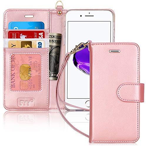 FYY Cover iPhone 8 Plus, Custodia iPhone 8 Plus, Cover iPhone 7 Plus, Flip Custodia Portafoglio Libro Pelle PU con Porta Carte e Chiusura Magnetica per iPhone 7 Plus/8 Plus- Oro Rosa