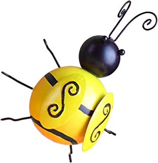 VOSAREA Metal Bee Wall Art 3D Iron Rustic Wall Decoration Inspirational Wall Sculpture Honey Bee Hanging Decor for Home Ga...