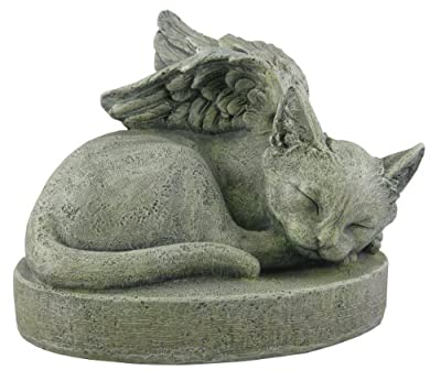 Napco Pet Memorial Angel Wing Resin Stone Bereavement Garden Statue
