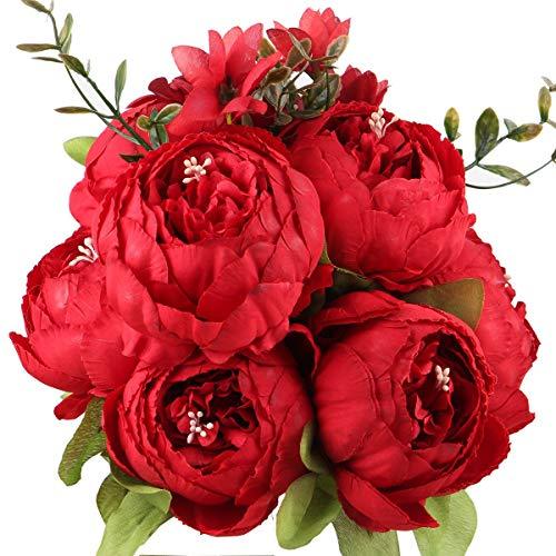 Ksnnrsng Künstliche Blumen Pfingstrose Kunstblumen Seidenblumen Unechte Blumen Seidenpfingstrose Seide Blumenstrauß Jahrgang Hochzeit Zuhause Dekoration (Rot)