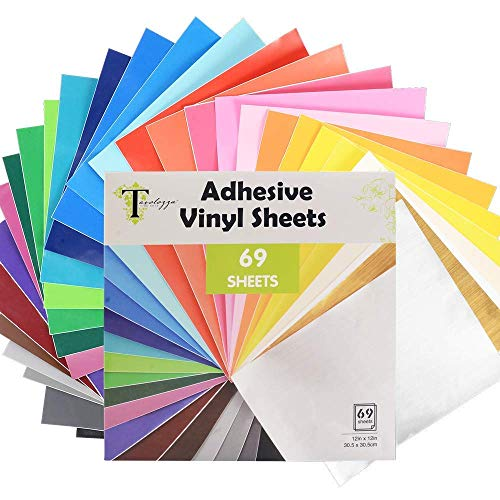 Tavolozza Fogli permanenti in vinile con retro adesivo, 30,5 x 30,5 cm, 69 fogli di colori assortiti, funziona con Cricut e altri taglierini artigianali