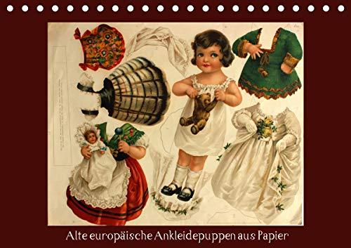 Alte europäische Ankleidepuppen aus Papier (Tischkalender 2021 DIN A5 quer)