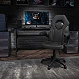 Flash Furniture X10 Gaming Chair Racing Office Ergonomic Computer PC Adjustable Swivel Chair with Flip-up Arms, Black LeatherSoft