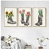 DLFALG Cuadro de arte moderno flor y botas Cactus girasol lienzo pintura cartel creativo para sala de estar decoración de fondo 40x60cmx3 sin marco