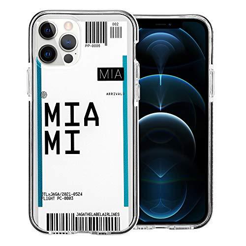 JAGA Miami Schutzhülle für iPhone 12 Pro Max (Motiv: Boarding Pass Reise, kratzfest), stoßfest
