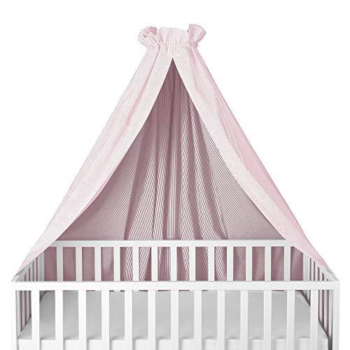 Sugarapple Himmel für Kinderbetten, Babybetten seitlich, quer verwendbar, weiß mit rosa Streifen, 100% Öko-Tex Baumwolle, 280x170 (BxH) cm