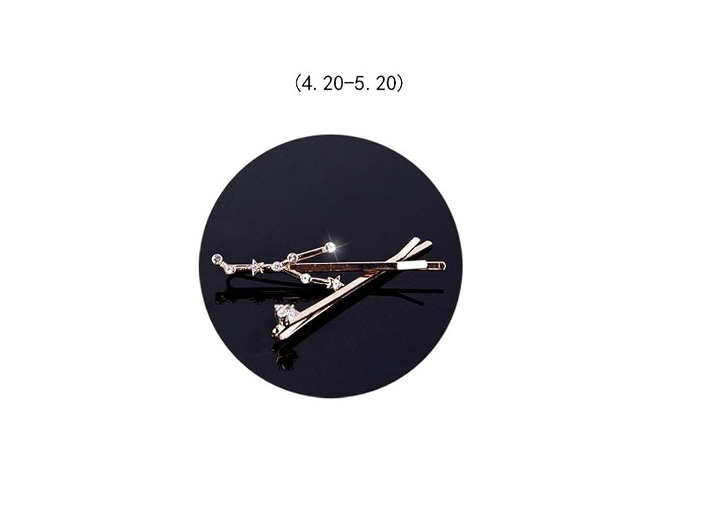 契約する交差点静かなOsize 美しいスタイル 12コンステレーションダイヤモンドジュエリーサイドクリップヘアピンヘアクリップセット(おうし座)